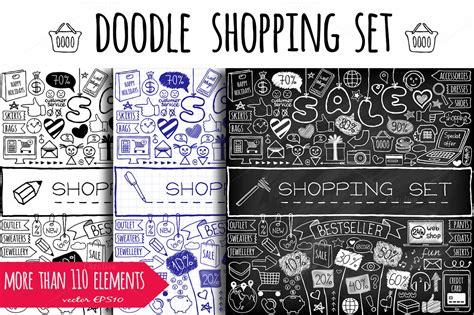 doodle shopping doodle shopping icons icons on creative market