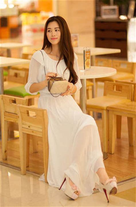 Dress Putih Lengan Panjang Polkadot Hitam Import Korea Fit To L dress korea sifon putih model terbaru jual murah import kerja