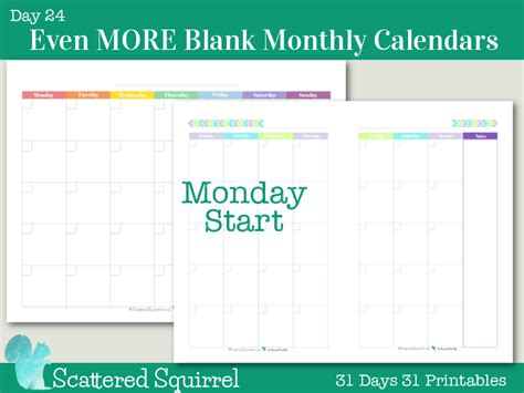 printable monthly calendar starting monday day24 more blank monthly calendars scattered squirrel