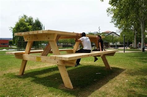 how big is a picnic table oversized furniture installations picnic table