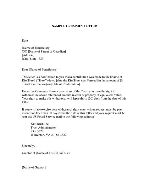 Insurance Crummey Letters Best Photos Of Sle Crummey Letters Payment Demand Letter C O Sle Letter And Sle