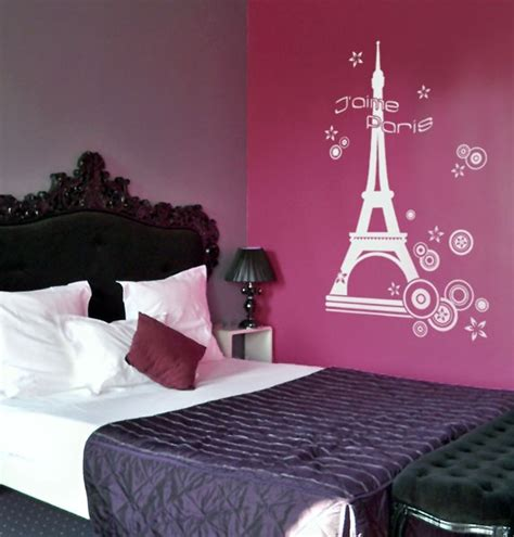purple paris themed bedroom autocollants decalques wallstickers decals paris