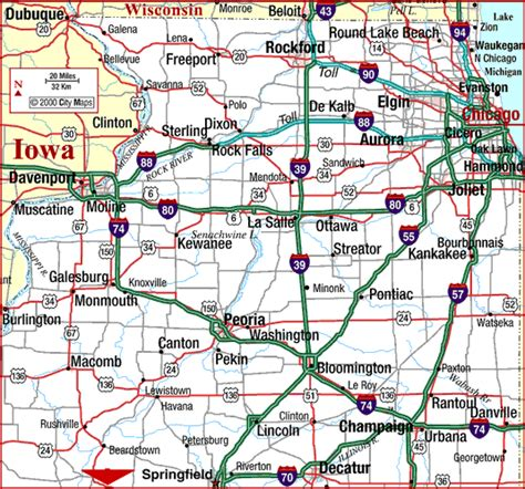 road map illinois usa highway map of illinois