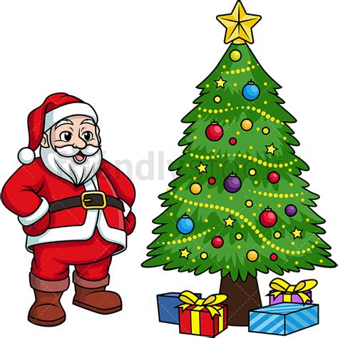 pictures of crismas tree and centaclaus santa claus near tree clipart vector friendlystock