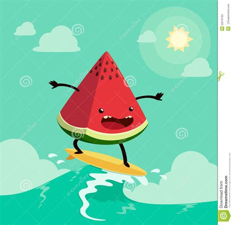 vegetables z wave surfing watermelon stock vector image 53579163