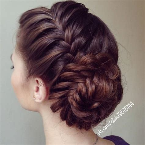 Braided Hairstyles With Side Bun | side braid fishtail bun