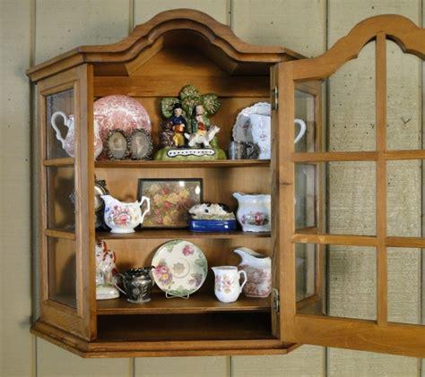 Cabinet Bonnet by Antique Oak Wall Shelf Vitrine Curio Glass Display