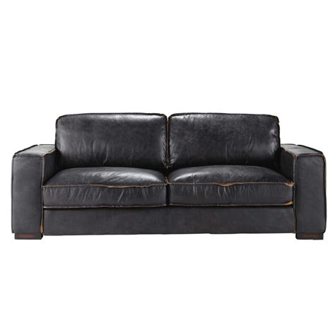Black Leather 3 Seater Sofa 3 Seater Leather Vintage Sofa In Black Colonel Maisons Du Monde