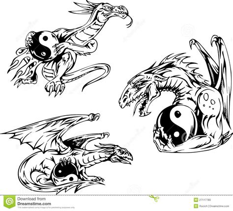 dragon tattoos with yin yang signs stock vector image