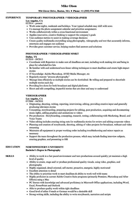 Videographer Resume by Videographer Resume Sles Velvet