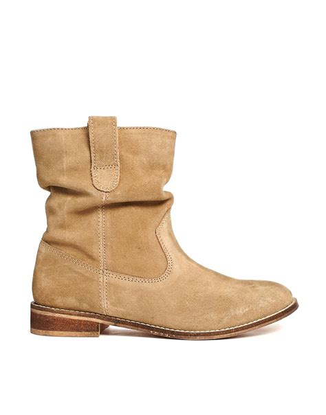 asos aloof suede pull on ankle boots in lyst