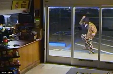 Pudgy Thief In Polka Dot Pants Forgets Mask Fails To Running Into Glass Door