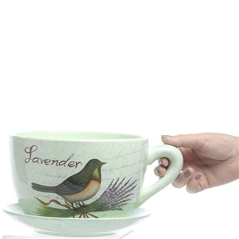Tea Cup And Saucer Planter by Quot Lavender Quot Tea Cup And Saucer Flower Planter Vase And