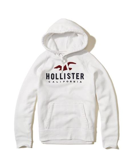 Hoodie Hollister1 hollister logo graphic hoodie in white for lyst