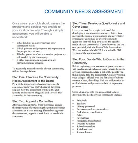 Community Needs Assessment Template community needs assessment 9 free for pdf