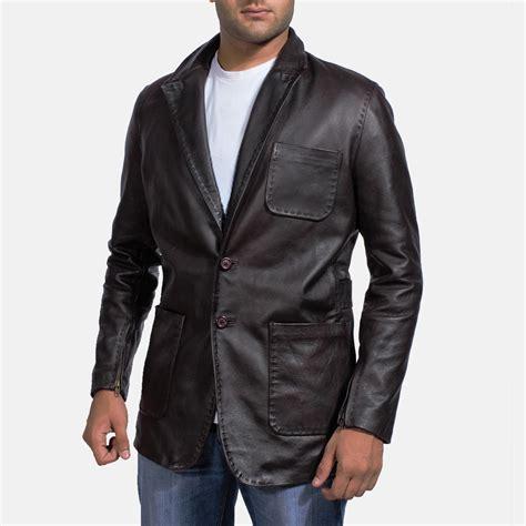 Vest Blazer Black mens wine black leather blazer