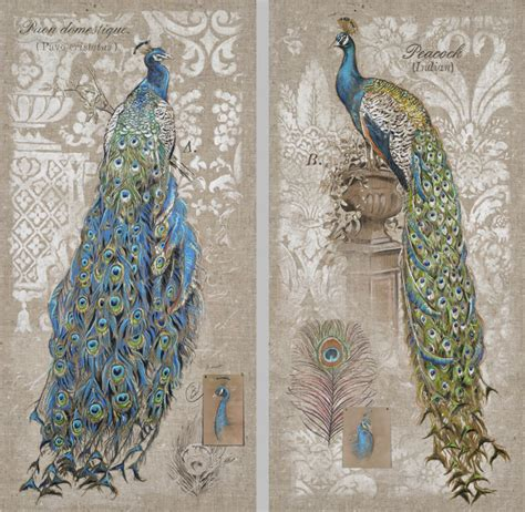 French Feathers Home Decor And Accessories new elegant peacock canvas wall print 18x36 bird sofa art