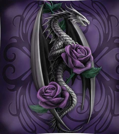rose dragon tattoo purple world purple