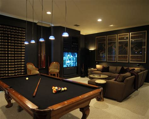 Dark Media Room With Pool Table Id Basement Spaces