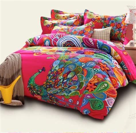 boho style bedding peacock print bedding sets bohemian duvet covers queen