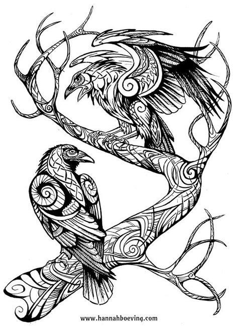 viking tattoo animal huginn and muninn drawing by benu h on deviantart art