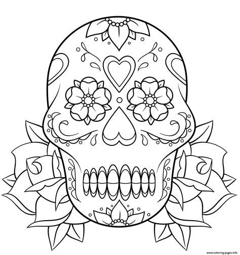 coloring pages skulls and roses sugar skull and roses 2 calavera coloring pages printable