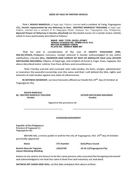 sle auto bill of sale deed of sle for motor vehicle impremedia net