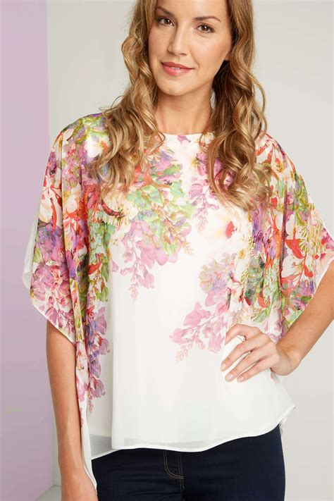 Floral Chiffon Top floral chiffon overlayer top in ivory originals uk