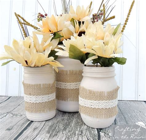 Mason Jar Home Decor Ideas by Fall Jars With Dollar Store Flowers Crafting In The Rain