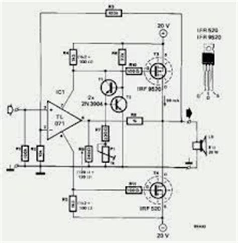 transistor power lifier built up build 20w mosfet power lifier circuit with ifr9520 ifr520 electronic circuits diagram