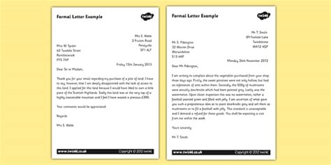 Formal Letter Exle Ks2 Formal Letter Exles Formal Letters Formal Letter Writing