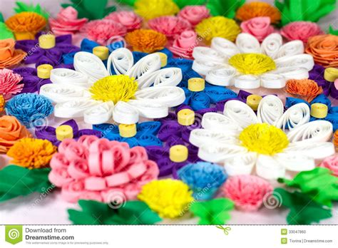 Colorful Paper Quilling Flowers Stock Photo Image 33047860 How To Make Colored Paper L