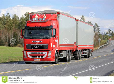 Red Volvo Fh Full Trailer Truck On The Road Editorial