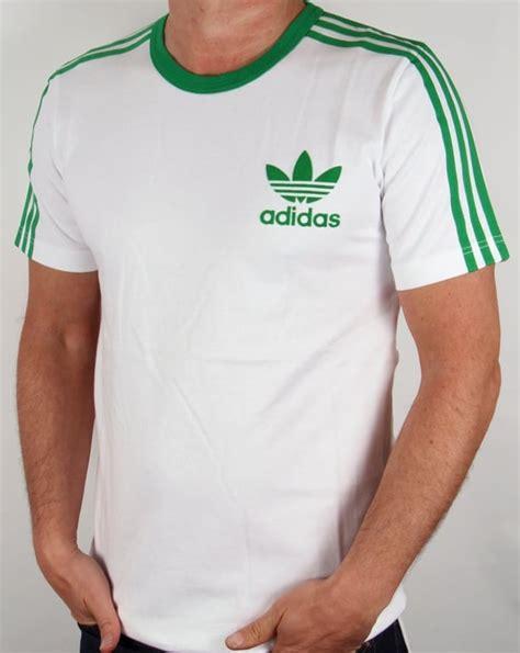 Tshirt Adidas Cloth adidas 3 stripes t shirt white green trefoil mens