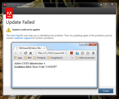 adobe illustrator cs6 update failed photoshop cc adobe csxs infrastruscture 4 update error