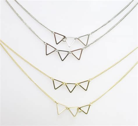 Triangle Layer triangle layers j825 layered triangle necklace