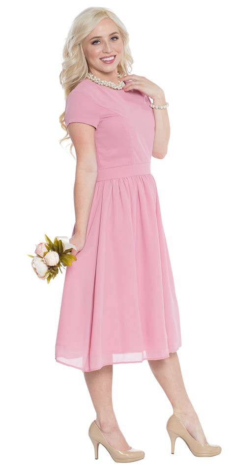 002 Semi Formal Dress jen quot quot semi formal modest bridesmaid dress in bridal blush pink dusty pink or mauve