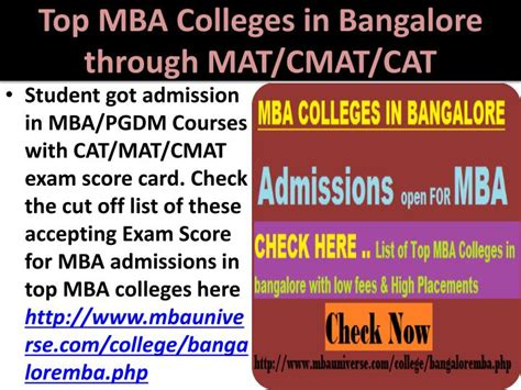 Mba Through Mat by Ppt Top Mba Colleges In Bangalore Rank Wise Powerpoint