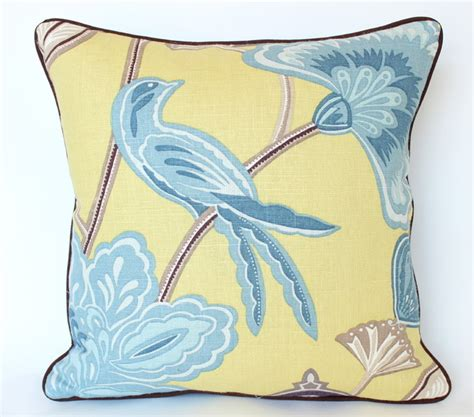Yellow And Blue Decorative Pillows by Yellow And Blue Chinoiserie Pillow With Piping