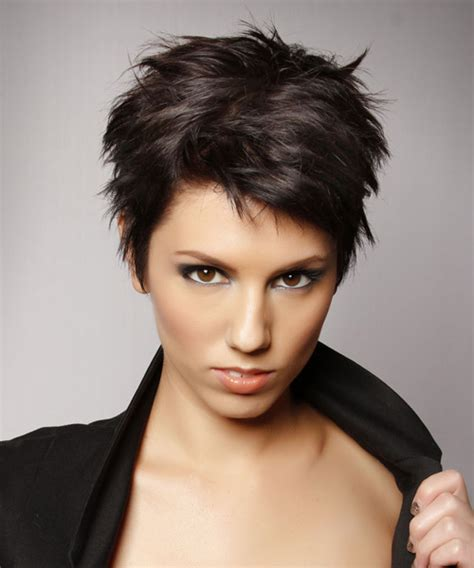 hairstyles that compliment full round face short straight casual pixie hairstyle dark brunette mocha