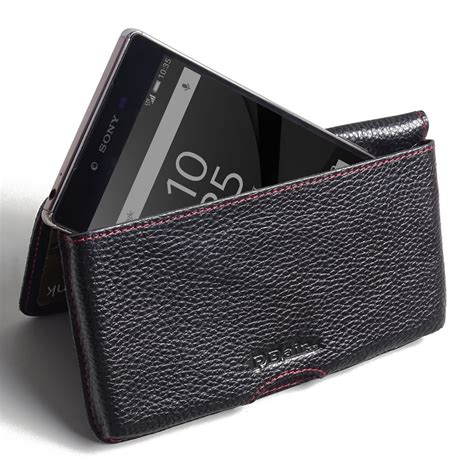 Premium Leather sony xperia z5 premium leather wallet pouch stitching pdair