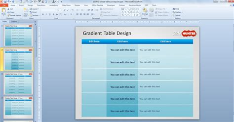 design powerpoint table free simple gradient table design template for powerpoint