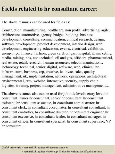 hr consultant resume exle top 8 hr consultant resume sles