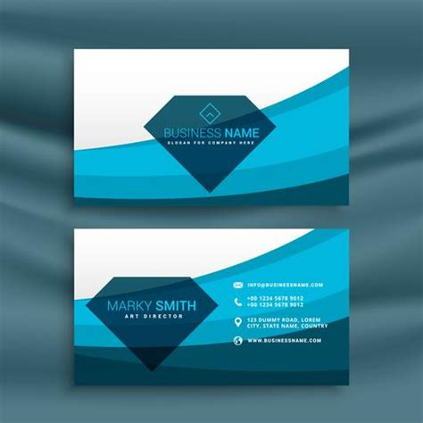 business card template wavy design blue wave business card template design with shape