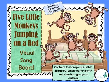 5 little monkeys jumping on the bed song five little monkeys jumping on the bed visual song board