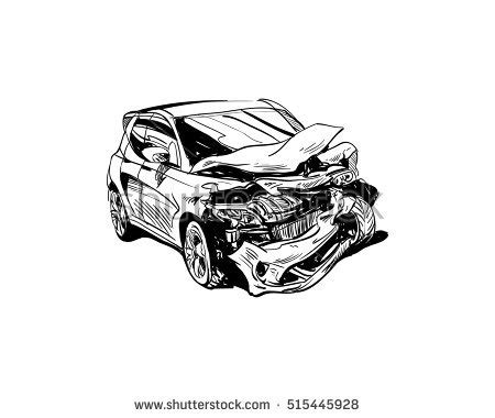 wrecked car drawing car crash illustration auto vectores en stock