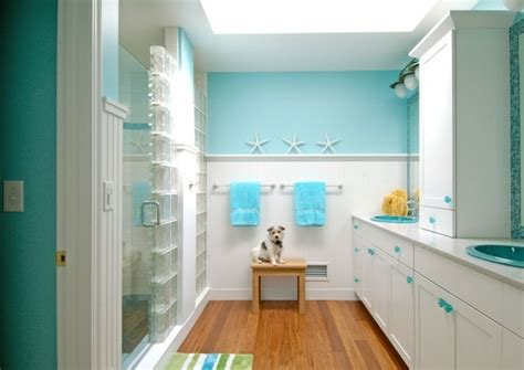 surf themen badezimmer mettons des briques de verre dans la salle de bains