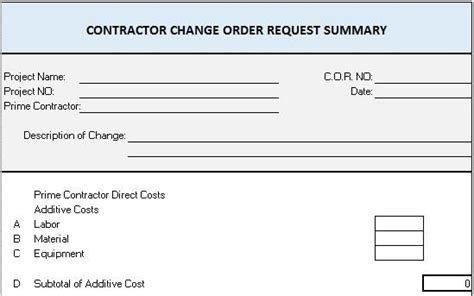 Free Construction Project Management Templates In Excel Construction Change Order Template