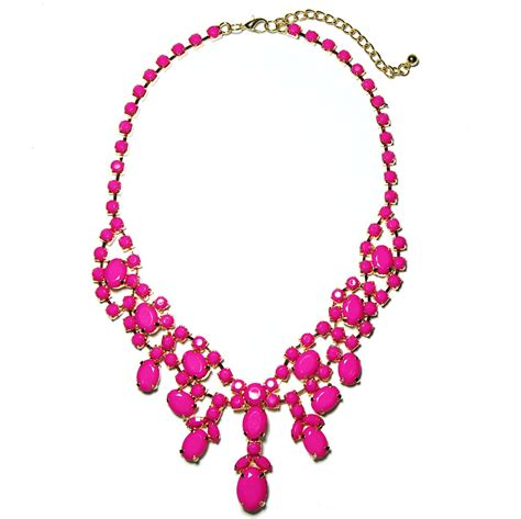pink necklace pink cluster statement bib necklace