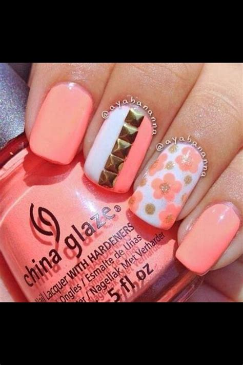 coral pattern nails stud floral coral nail art crazy for coral